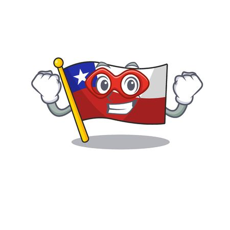 Super hero flag chile isolated with the cartoon vector illustration