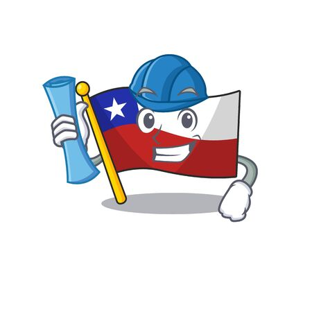 Architect flag chile isolated with the cartoon vector illustration Zdjęcie Seryjne - 129326040