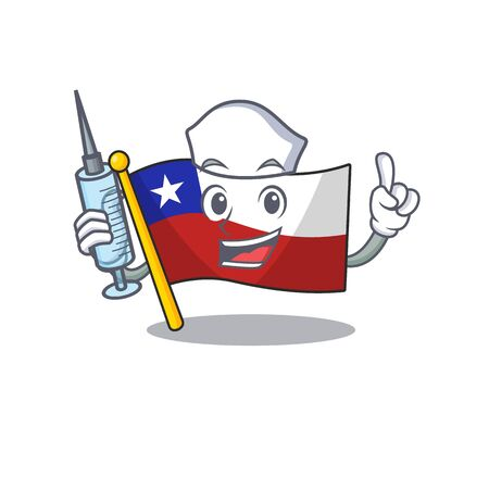 Nurse flag chile isolated with the cartoon vector illustration