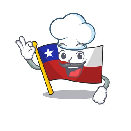 Chef flag chile isolated with the cartoon vector illustration