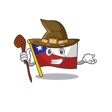 Witch flag chile mascot in character drawer vector illustration