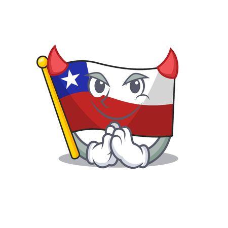 Devil flag chile mascot in character drawer vector illustration
