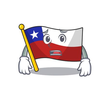 Afraid flag chile mascot in character drawer vector illustration