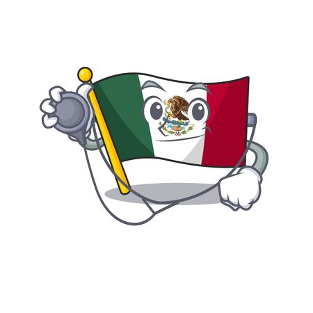 Doctor flag mexico in the cartoon shape vector illustration Ilustrace