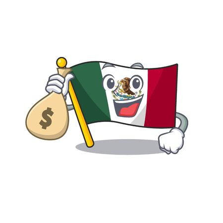 With money bag flag mexico in the cartoon shape vector illustration