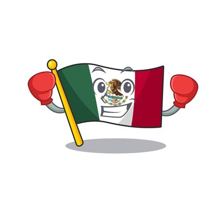 Boxing flag mexico in the cartoon shape vector illustration