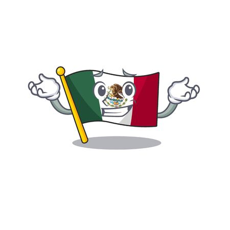 Grinning flag mexico character in mascot shaped vector illustration
