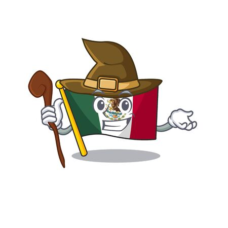 Witch flag mexico isolated with the character vector illustration