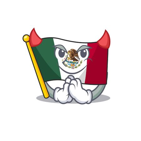 Devil flag mexico isolated with the character vector illustration