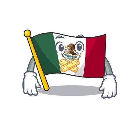 Silent mexico flag fluttering on cartoon pole
