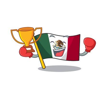Boxing winner mexico flag fluttering on cartoon pole