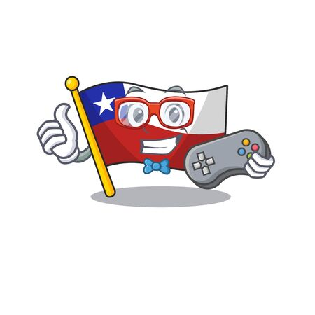 Gamer flag chile mascot in character drawer