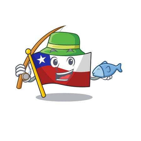 Fishing flag chile mascot in character drawer  イラスト・ベクター素材