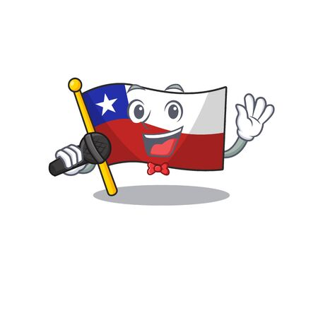 Singing flag chile mascot in character