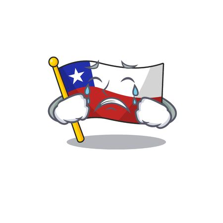 Crying flag chile mascot in character