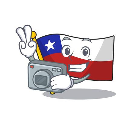Photographer flag chile mascot in character  イラスト・ベクター素材