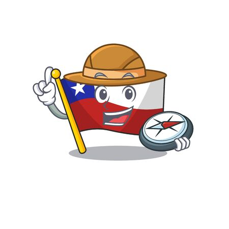 Explorer flag chile mascot in character  イラスト・ベクター素材
