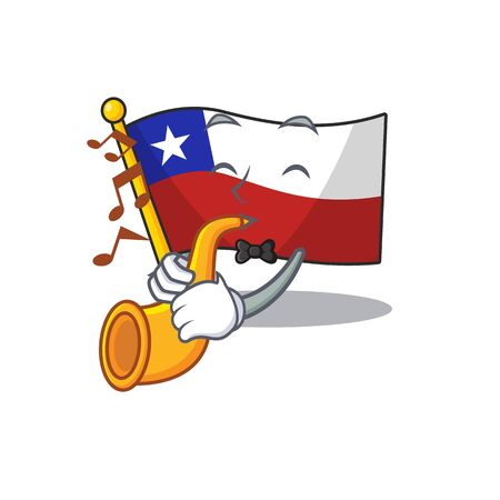 With trumpet flag chile mascot in character  イラスト・ベクター素材
