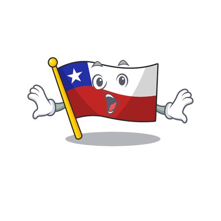 Surprised flag chile mascot in character