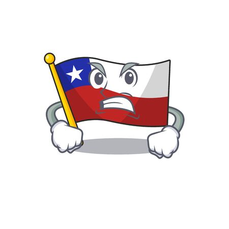 Angry flag chile mascot in character