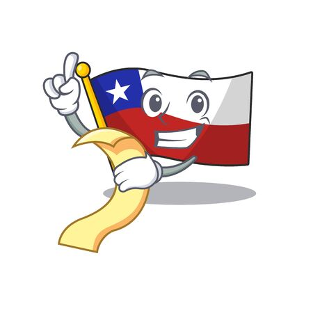 With menu flag chile mascot in character