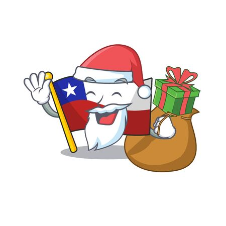 Santa with gift flag chile with in the character