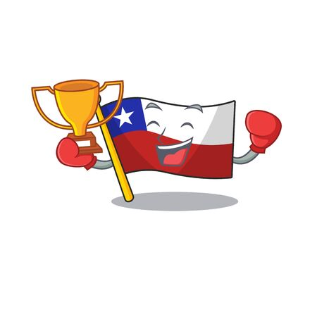 Boxing winner flag chile with in the character