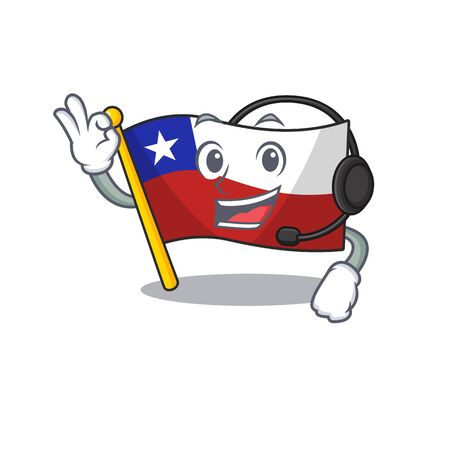 With headphone flag chile with in the character