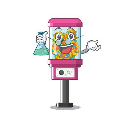 Professor candy vending machine in a cartoon