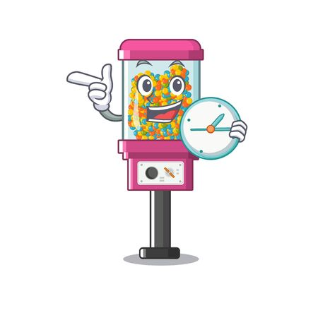 With clock candy vending machine in a cartoon vector illustration