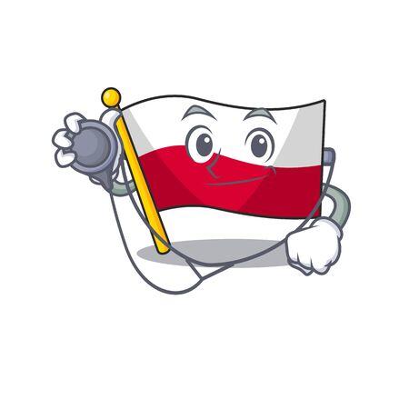 Doctor mascot cartoon shaped in poland flag Çizim