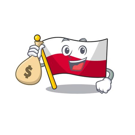 With money bag mascot cartoon shaped in poland flag
