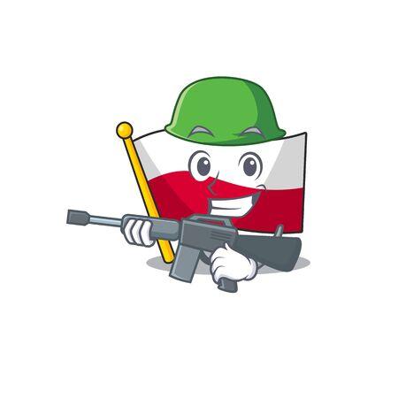 Army mascot cartoon shaped in poland flag