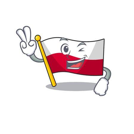 Two finger flag poland hoisted on mascot pole