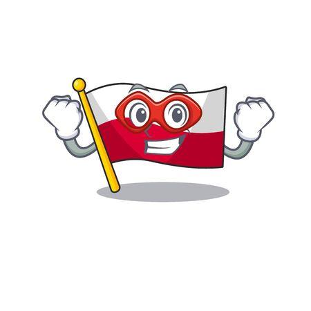 Super hero flag poland hoisted on mascot pole vector illustration Çizim