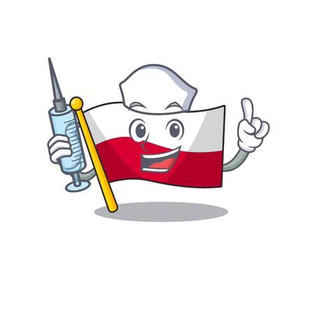 Nurse flag poland hoisted on mascot pole Çizim