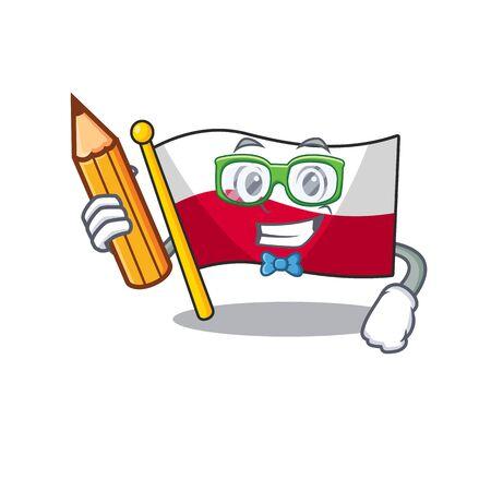 Student flag poland hoisted on mascot pole Çizim