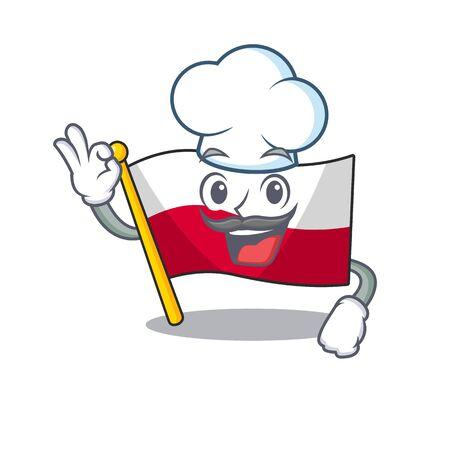 Chef flag poland hoisted on mascot pole