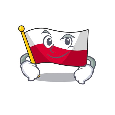 Smirking flag poland hoisted on mascot pole Çizim