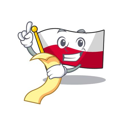 With menu flag poland hoisted isolated the character