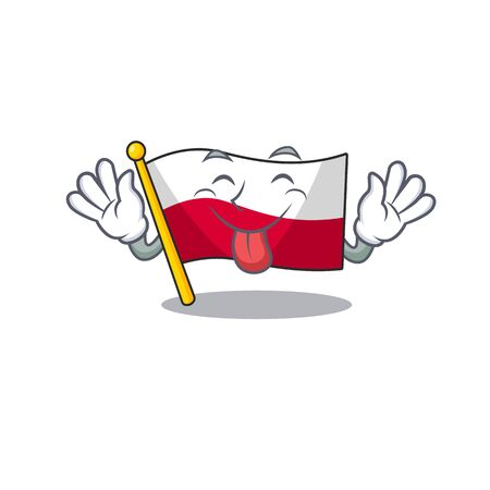 Tongue out flag poland in the cartoon shape