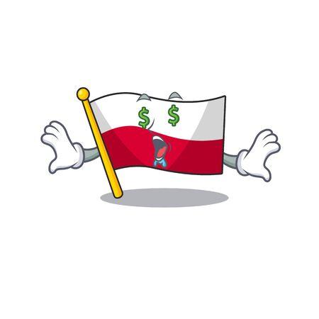 Money eye flag poland in the cartoon shape
