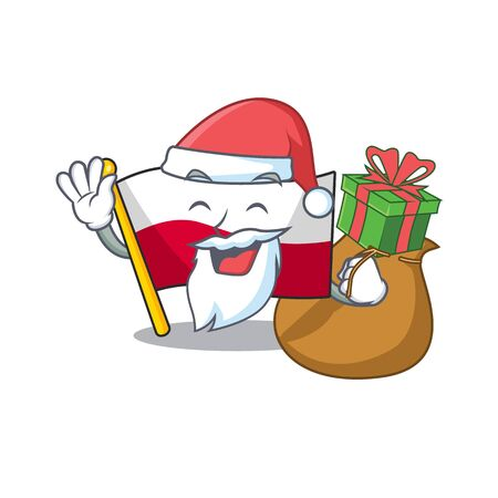 Santa with gift flag poland in the cartoon shape 일러스트