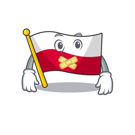 Silent flag poland in the cartoon shape