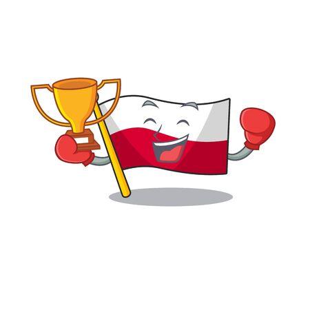 Boxing winner flag poland in the cartoon shape Çizim