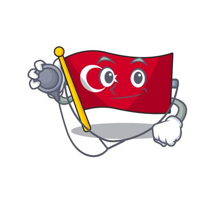 Doctor flag turkey character on shaped cartoon Ilustração