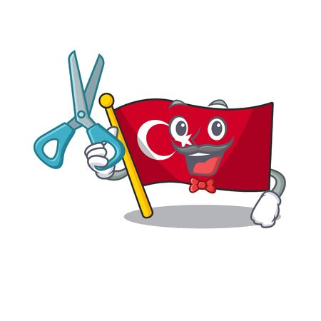 Barber flag turkey character on shaped cartoon