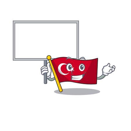 Bring board flag turkey character on shaped cartoon Çizim