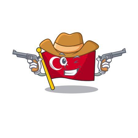 Cowboy flag turkey character on shaped cartoon Çizim