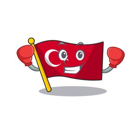 Boxing flag turkey character on shaped cartoon Çizim